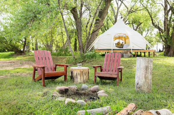 FOUR PERSON PRIMITIVE GLAMPING YURT