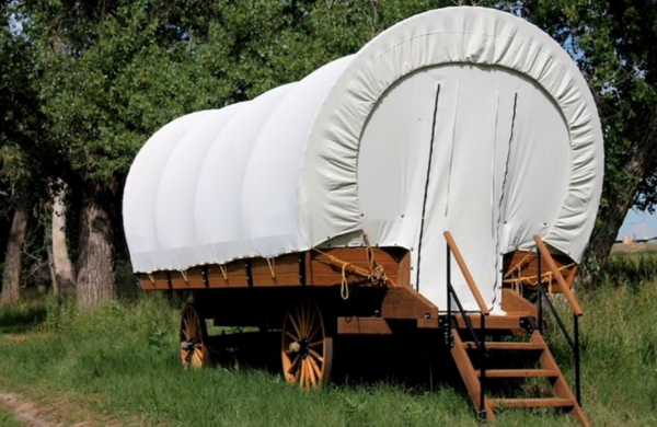 PRIMITIVE GLAMPING COVERED WAGON